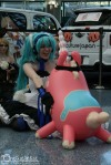Hatsune miku excited to see a random blow up animal